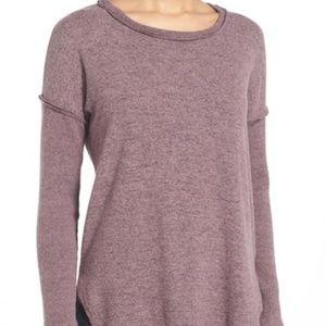 $54 Bobeau Rib long sleeve fuzzy sweatshirt mauve